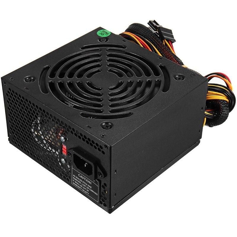 Prise ue noir 1000W alimentation Psu Pfc ventilateur silencieux Atx 24pin 12V PC ordinateur Sata Gaming PC alimentation pour Intel Amd Comput