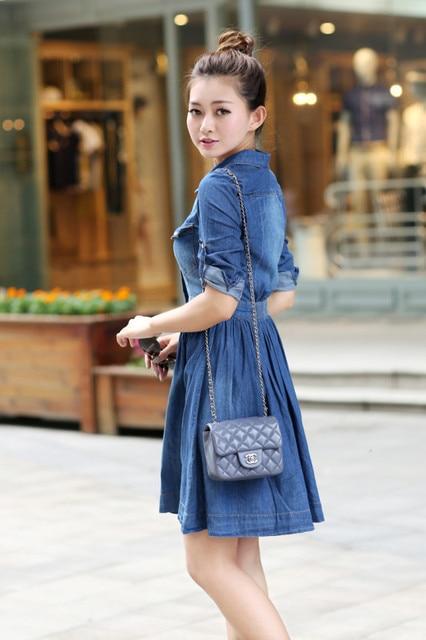 c03f5e29d765648 Платье свободного покроя mini лето, корейский женщины короткая ковбой деним  джинсы воротник синий плиссировка платья