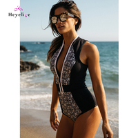 New High Neck Women's Swimwear Printed Zipper Bathing Suit One Piece Monokini Push Up Sexy One Piece Swimsuits High Cut Bodysuit