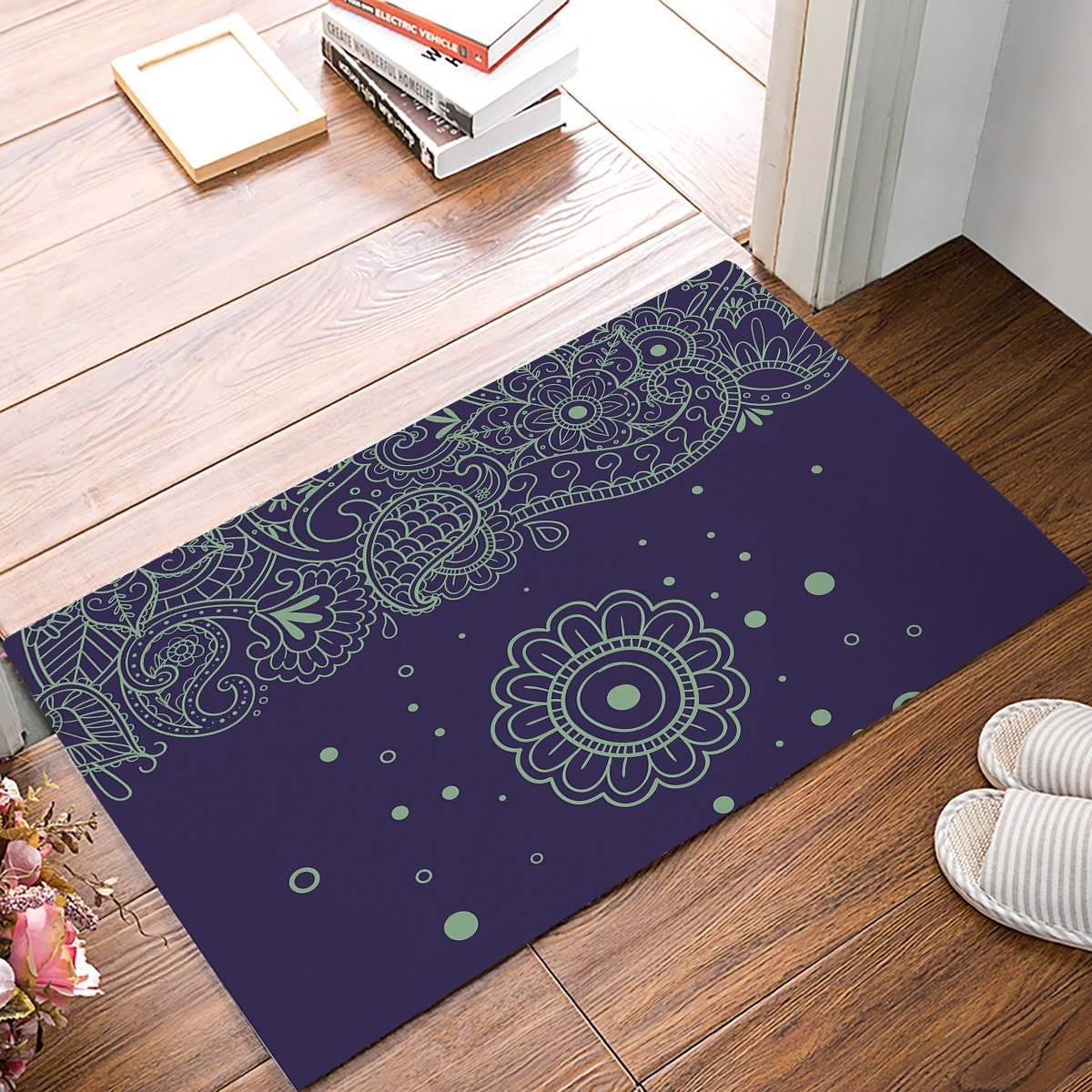 Vintage Mandala Flower Decortaive Door Mats Kitchen Floor Bath Entrance Rug Mat Absorben ...