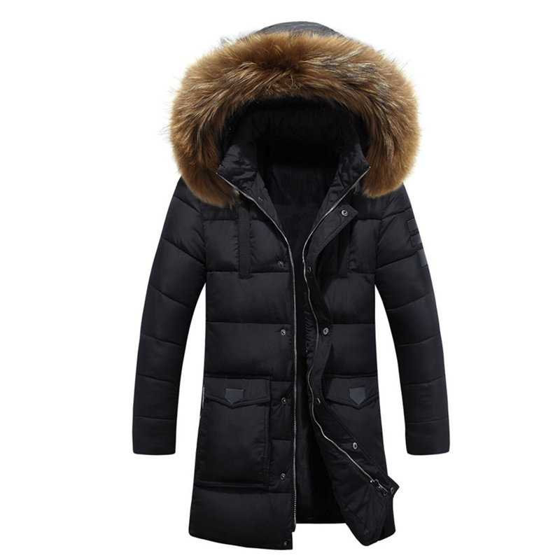 ФОТО 2017 Winter Puff Jacket Men Coats Thick Warm Casual Fur Collar Long Coat Parkas Men Windproof Hooded Outerwear Men's Parkas