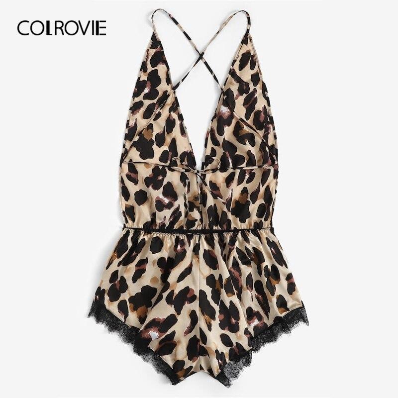 de56df5821 COLROVIE Plus Size Lace Criss Cross Leopard Print Romper Teddy Bodysuit  Lingerie Women 2019 Sexy Onesies Pajamas Femme Sleepwear on Aliexpress.com  | Alibaba ...