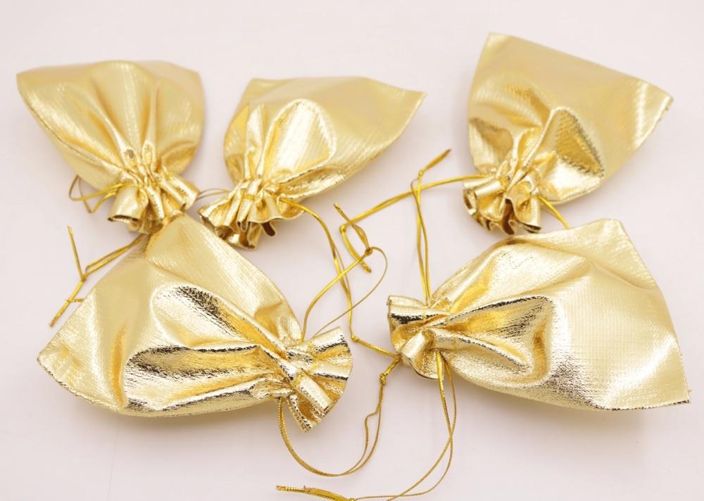 Купить с кэшбэком Bulk 100 PCS Jewelry Gift Bag Pouch Silver Golden Bags Pouches Choose 5X7cm 7X9cm 10X12cm