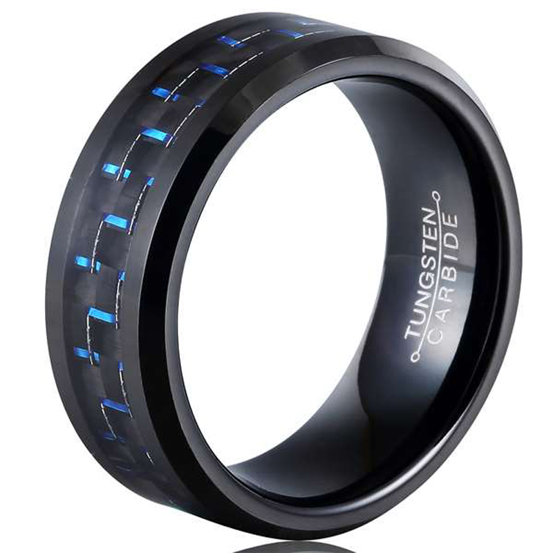New Arrival 8mm Black Tones Tungsten Carbide Rings Man's Fashion Jewelry Inlay Blue Carbon Fiber Comfort Fit Size 7-13