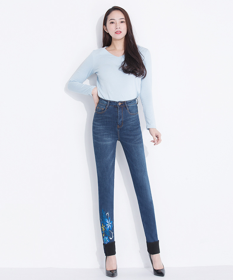 KSTUN FERZIGE Jeans for Women Winter High Waist Fleece Thick Embroidered Denim Pants Stretch Slim Skinny Sexy Ladies Mujer Trousers 36 13