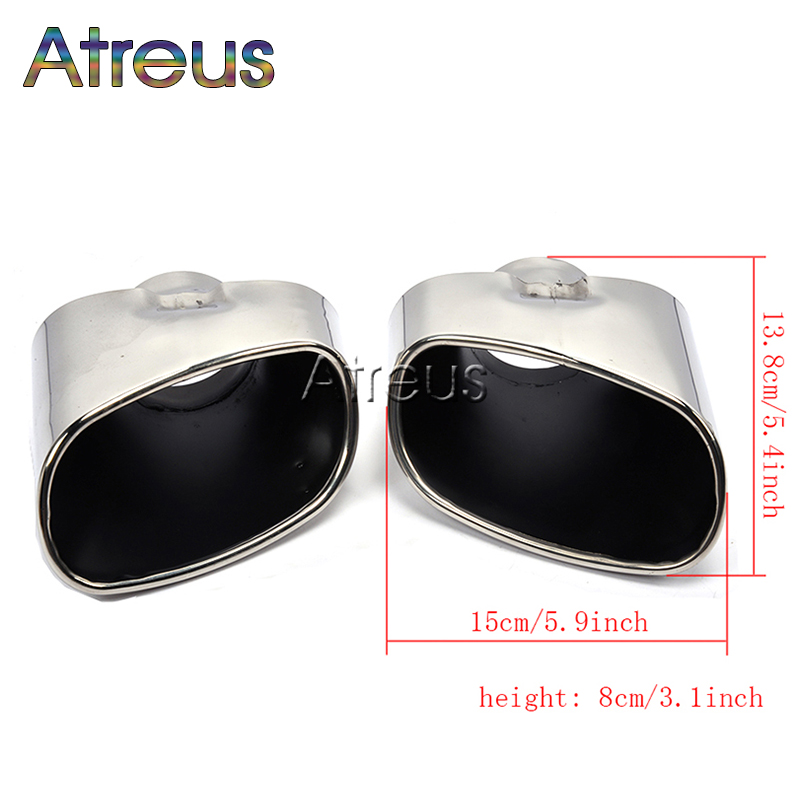 Atreus 1pair Stainless Steel Chrome Car Exhaust Tips Muffler Pipe Tailpipe Cover For BMW X5 E53