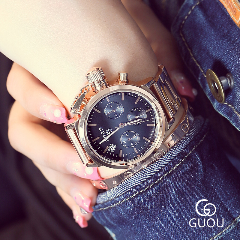 Luxury Brand GUOU Rose Gold Calendar Quartz Watches Women Ladies Full Stainless Steel Dress Wristwatches Bracelet Watch Female fashion women calendar rose gold quartz watch luxury brand guou six pin retro big dial female multifunction waterproof clock