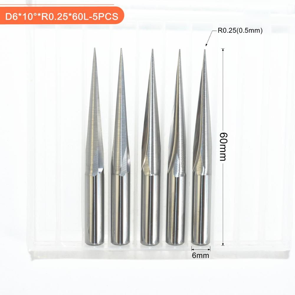 5 Pcs HRC55 R0.25 2 Flute 6MM Shank Carbide Tapered Ball Nose End Mill CNC Tools