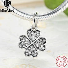 Authentic 100% 925 Sterling Silver Four-Leaf Clover Pingente Encantos fit PAN Charme Pulseira DIY Tomada de Jóias Finas GOS136(China)