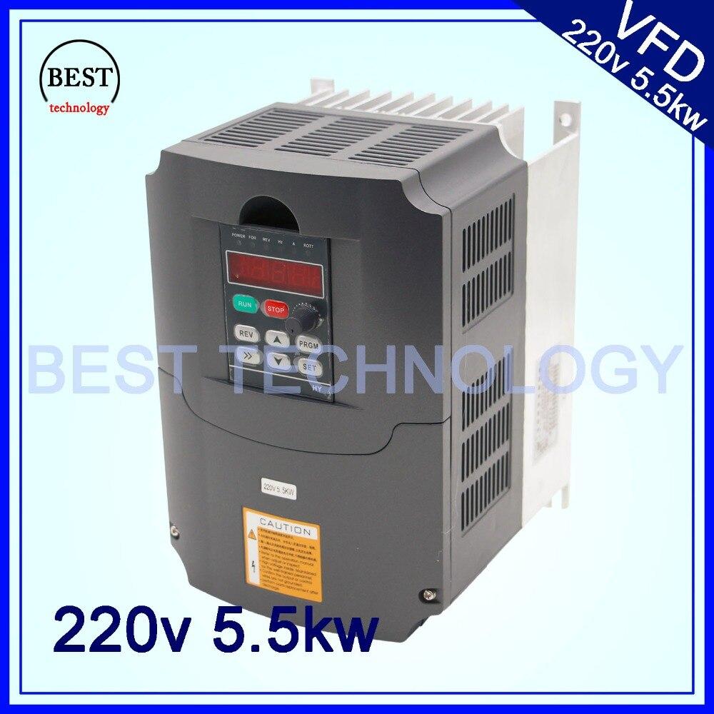 220 v Unidade de Freqüência Variável VFD Inversor 5.5kw/VFD1HP ou 3HP 3HP eixo CNC Motorista velocidade do eixo de Saída de Entrada controle