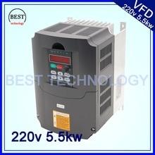220 v 5.5kw VFD variador de frecuencia inversor / VFD1HP o 3HP entrada 3HP salida del huso del CNC controlador de velocidad del husillo de control