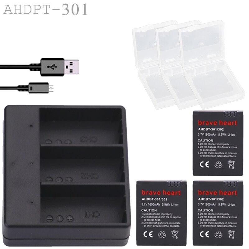 Prix pour 3 x gopro hero 3 3 + batterie + 3-way usb chargeur + 3 x batterie cas pour gopro go pro hero3 hero3 + camera action accessoires