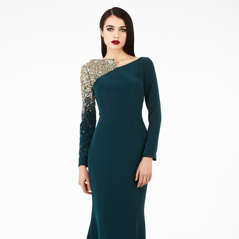vestidos Winter Formal Dresses Evening Dresses Long Sleeve Beads ...