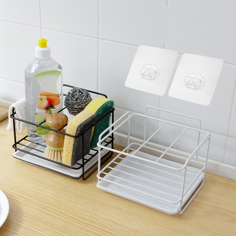 Double Layer Sponge Holder Kitchen Sink Organizer with Drainer Tray Dishwasher Storage Rack Spice Shelf Home Storage|Racks & Holders| |  - title=