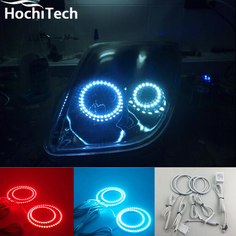 for fiat coupe 1993 1994 1995 1996 1997 1998 1999 2000 RGB LED headlight rings halo angel demon eyes with remote controller