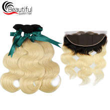Beautiful Queen 10A Peruvian Human Hair Body Wave 3 PCS/Lot With 13x4 Ear To Ear Lace Frontal 1B/613 Body Wave Virgin Hair Wefts(China)