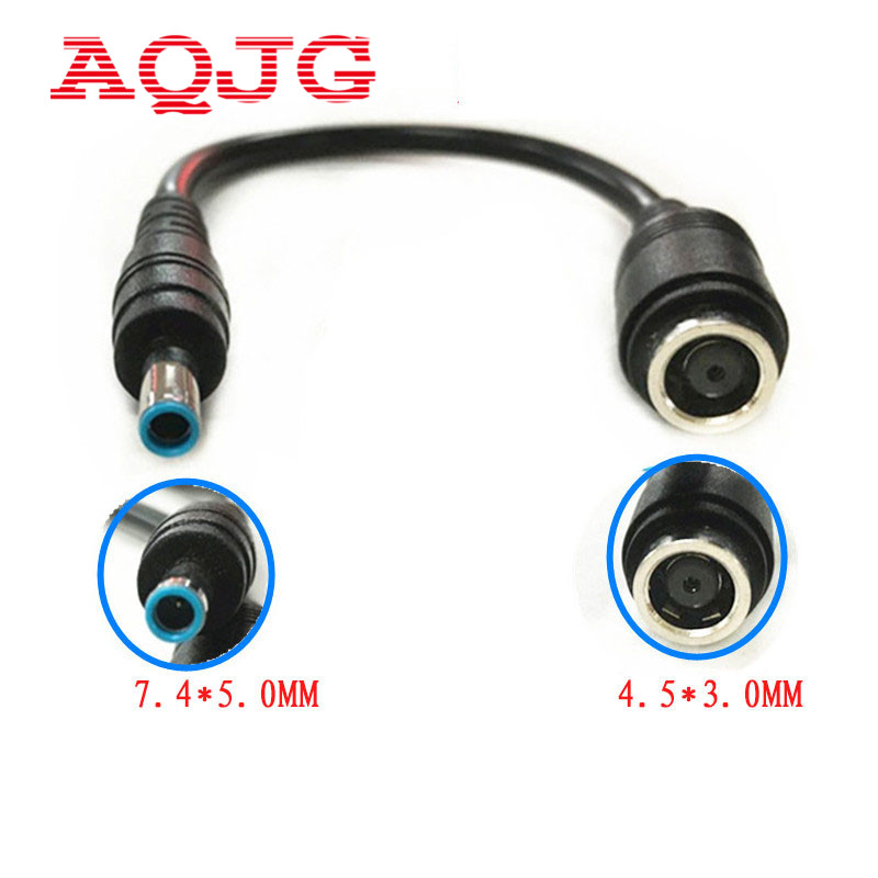 AQJG New 7.4*5.0 mm to 4.5*3.0 mm with Pin Bule DC Power Charger Adapter Converter Connector for HP Ultrabook Dell Laptop new power charger converter dc cable adapter for hp envy touchsmart 15 17 laptop charger plug dc 7 4mm female to 4 5mm pin male