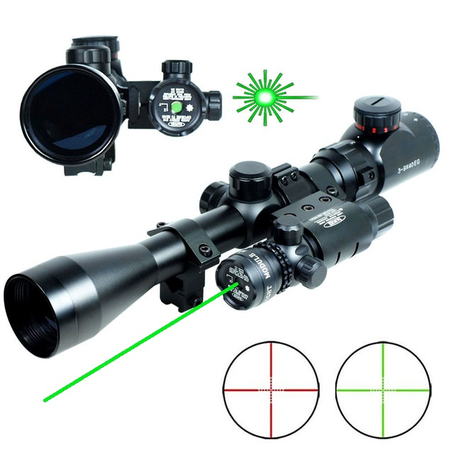Professional Mil-Dot illuminated Airsoft Rifle Scope 3-9x40 Hunting Riflescope Snipe Scope & Green Laser Sight Combo hunting red dot sight tactical 3 9x40dual illuminated mil dot rifle scope with green laser sight combo airsoft weapon sight
