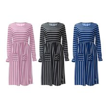 Womens Spring Long Sleeves O-Neck Midi A-Line Dress Irregular Stripes Patchwork High Waist Pleated Double Pockets Front Pullover grey crossed front design round neck long sleeves midi dress