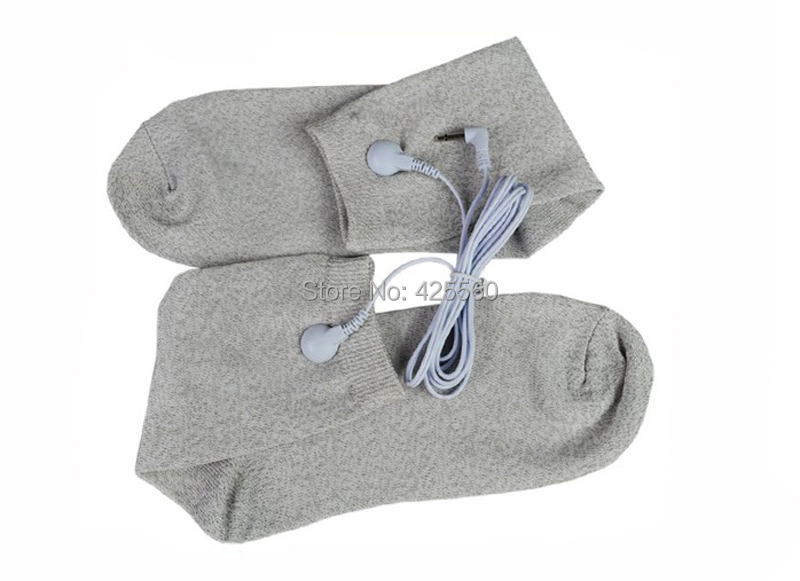 1 Pair Conductive Electrode Socks Massage TENS Socks With Jack 2.5mm Electrode Lead Wire Connector Cable For TENS/EMS Unit soothing massage bottom plain socks