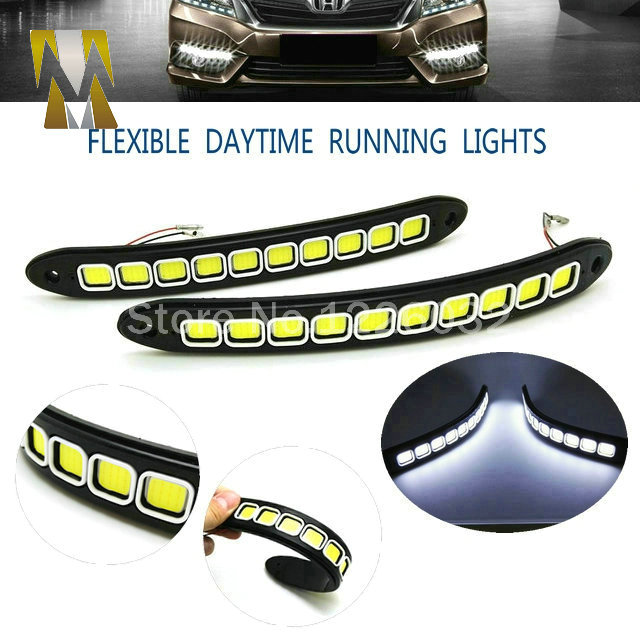 New Arrival High Power Flexible LED Daytime Running Light COB Day Lights Soft DRL Fit For Universal Cars Honda Toyota VW Ford 2x h7 high power 60w cob led headlight 499 bulb daytime fog light drl hid 6000lm ca229