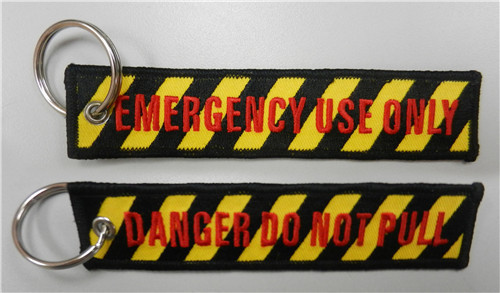 Вышивка брелок опасность не тяните аварийного использовать только - Название цвета: Yellow Black