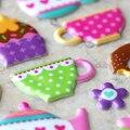 Высокое Качество Специальные Emoji Вознаградить Детей Детские Игрушки Пончик Чайник Чашка Чая Чашки Торт Скрапбукинг Пузырь Наклейки Мода Ремесло