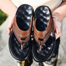 Мужские шлепанцы из натуральной кожи; коллекция года; Летние вьетнамки высокого качества; легкая дышащая пляжная обувь; нескользящие шлепанцы