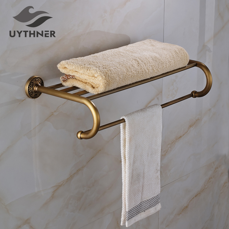 Antique Brass Bathroom Towel Shelf Single Towel Bar/ Rack Solid Brass Towel Holder Wall Mounted nail free foldable antique brass bath towel rack active bathroom towel holder double towel shelf with hooks bathroom accessories
