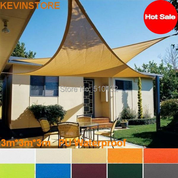 Free Shipping 3x3x3m 160GSM Triangle Waterproof Sun Sail Shade Outdoor Awning Awned Quality Shading Fabric In Sails Nets From Home Garden On