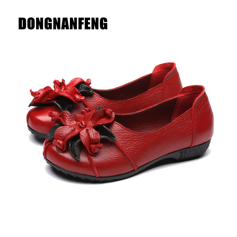 DONGNANFENG Women Shoes Flats Mother Slip On Genuine Leather Rubber Vintage Casual Floral Flower Round Toe Size 35-41 OL-8916 vintage embroidery women flats chinese floral canvas embroidered shoes national old beijing cloth single dance soft flats