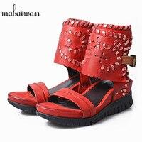 Mabaiwan красный Для женщин Летняя обувь повседневная обувь на высоком каблуке Обувь на платформе с пряжкой для женщин Гладиатор дышащие босон