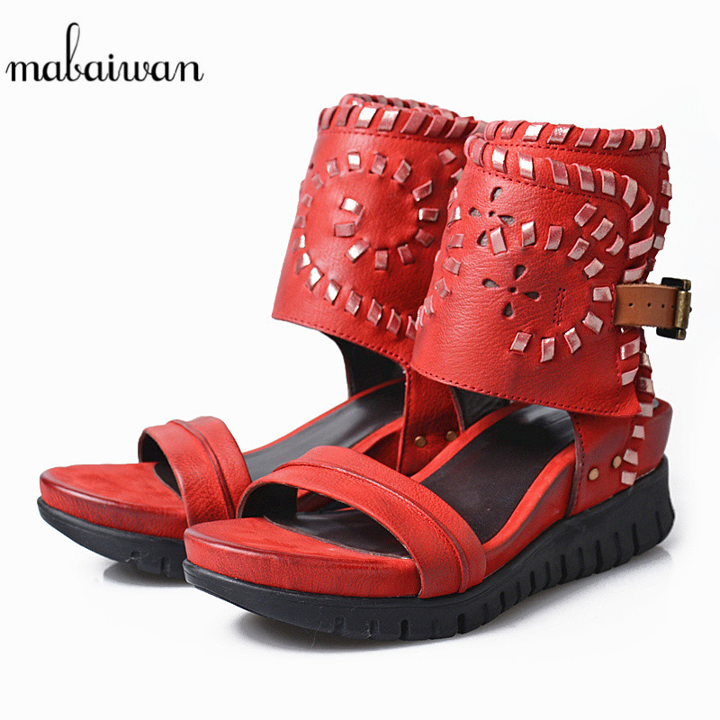 Mabaiwan Red Women Summer Shoes Casual High Heels Platform Buckle Shoes For Woman Gladiator Breathable Open Toe Sandals Wedges akexiya 2017 suede gladiator sandals platform wedges summer creepers casual buckle shoes woman sexy fashion high heels