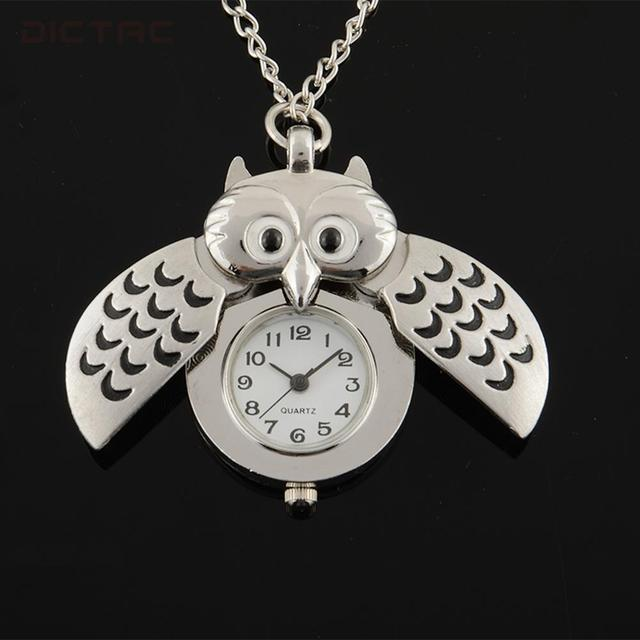 Silver Plated Owl Chic Pocket Watch Pendant Quartz Necklace Watches Gift