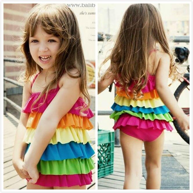 e5672d5fe5f26 Hot sale pretty little girl one piece rainbow swimsuit multicolor hot  spring bikini beachwear kids swimwear free shipping S17
