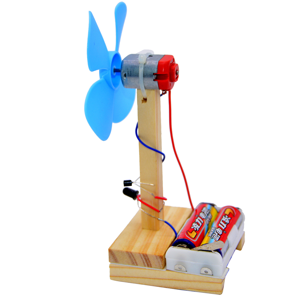 Infrared Remote Control Fan DIY Toys Electronics Education Self Assembly Kit For:science DIY Kits Child:scientific Toy (2pieces)