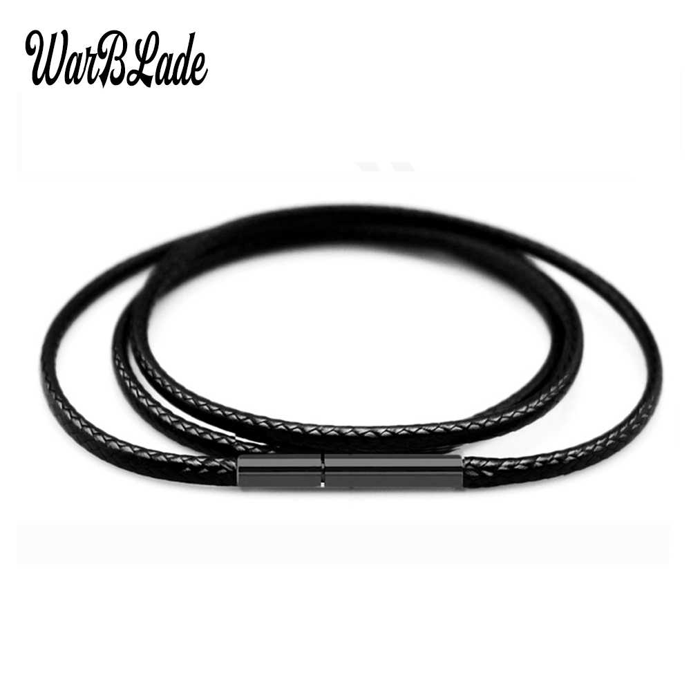 Top Quality 1.5mm 2mm 3mm Necklace Cord Leather Cord Wax Rope Chain With Stainless Steel Clasp For DIY Necklace Jewelry Making