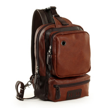 Vintage Leather Chest Bag for Men Leisure Messenger Bag with Single Shoulder Strap Fashion Travel Crossbody Bag