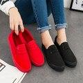 Хан издание досуг ленивый обувь осень обувь плоский кожаный красная парусиновые туфли на плоской подошве черный ткань обувь со студентами