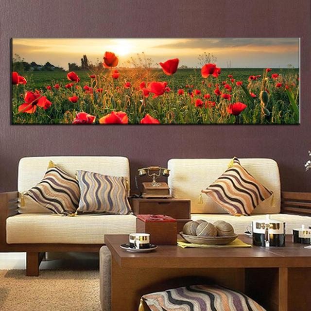 Large canvas painting the flower fields canvas wall art picture wall art home decorative modern wall