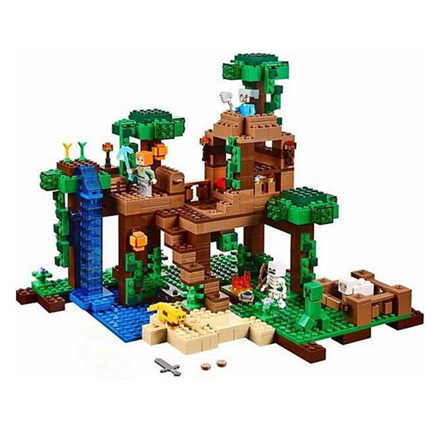 562pcs Brand Compatible The Jungle Tree House Building Blocks Model World Castle Action Figure Toys for Kids walking through the jungle