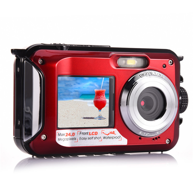 Amkov Front and Rear Dual-screen Digital Camera Life Waterproof Self-timer Camera 1080P HD Mini Camara Fotografica Digital W599 self tie dual pocket front dress