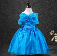 2016 summer Cinderella dress butterfly knot Princess Dresses Girl Dress D070