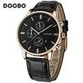 Moda casual top marca de relojes de lujo hombres doobo de negocios relojes de cuarzo-reloj deportivo correa de cuero relogio feminino saat