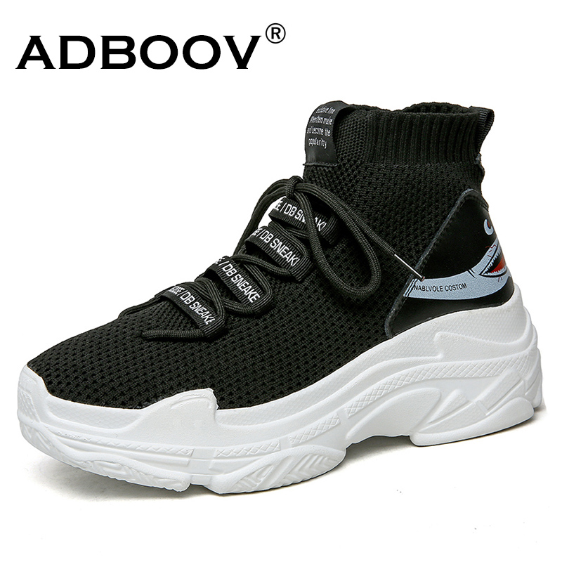 ADBOOV Shark Logo High Top Sneakers Women Knit Upper Breathable Sock Shoes Thick Sole 5 CM Fashion sapato feminino Black / White