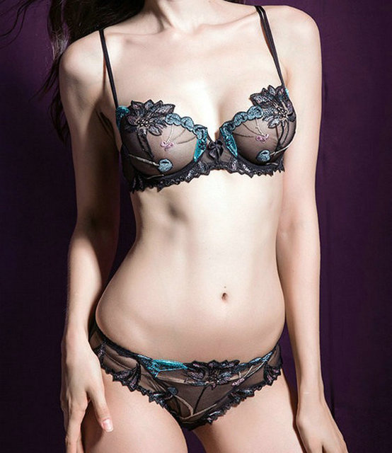 Free shipping Ultrathin embroidery lace bra bra brief sets   women bra set  sexy bra set   women underwear set