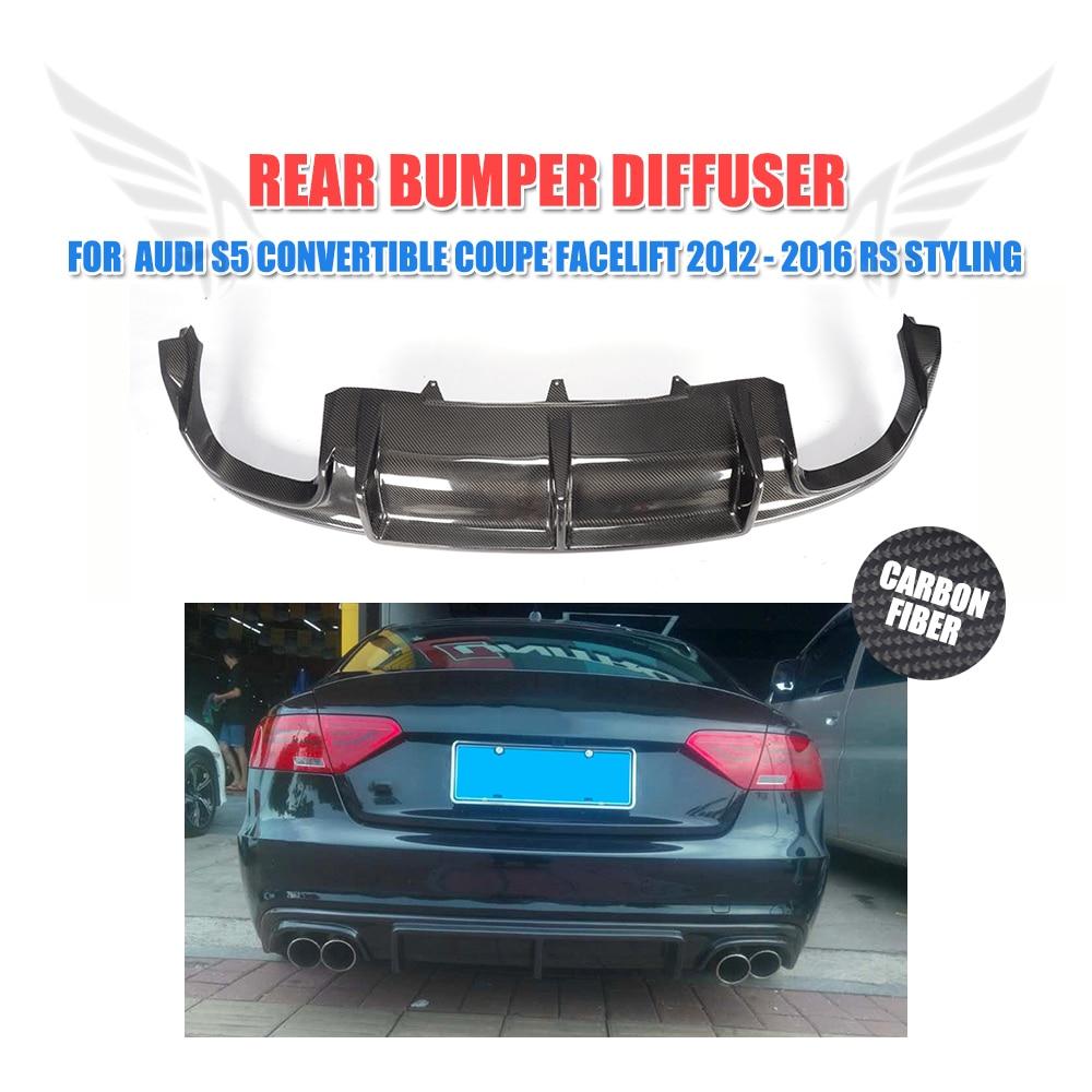 Carbon Fiber Rear Bumper Lip Diffuser Spoiler for Audi S5 Sline Sedan Convertible Coupe 2012 2016 Non A5 Standard