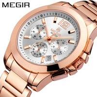 MEGIR Chronograph Women Watch Top Luxury Brand Date Clocks Steel Strap Quartz Date Ladies Watch Lover