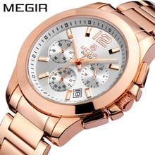 MEGIR הכרונוגרף נשים שעון יוקרה למעלה מותג תאריך שעונים פלדת רצועת קוורץ תאריך גבירותיי שעון מאהב מתנה נשי שעון תיבה 5006