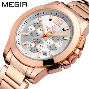 Image 1 - MEGIR הכרונוגרף נשים שעון יוקרה למעלה מותג תאריך שעונים פלדת רצועת קוורץ תאריך גבירותיי שעון מאהב מתנה נשי שעון תיבה 5006